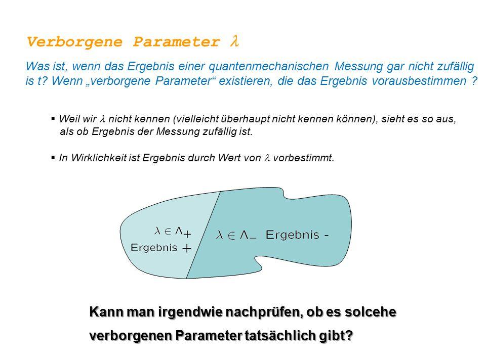 """Was ist, wenn das Ergebnis einer quantenmechanischen Messung gar nicht zufällig is t? Wenn """"verborgene Parameter"""" existieren, die das Ergebnis vorausb"""