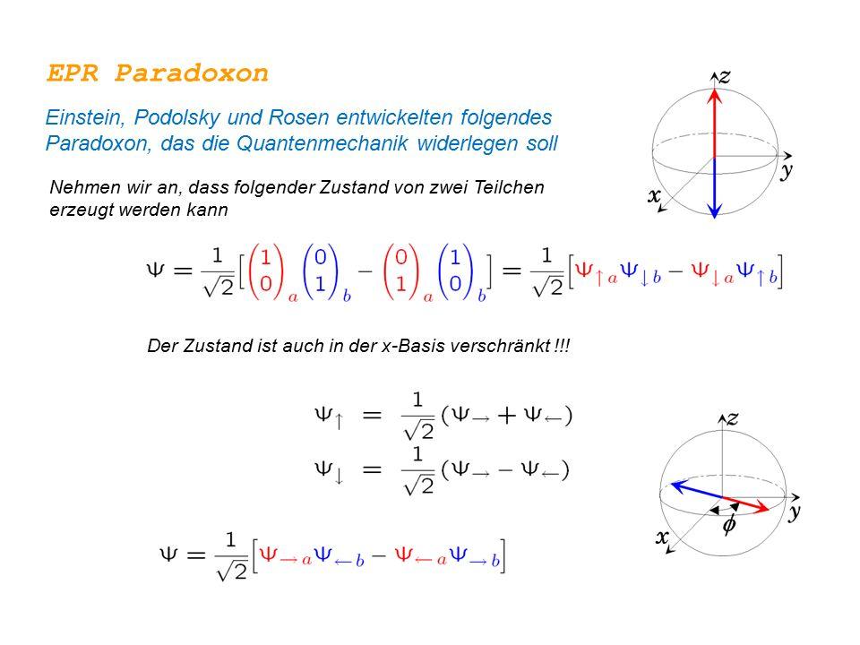 EPR Paradoxon Einstein, Podolsky und Rosen entwickelten folgendes Paradoxon, das die Quantenmechanik widerlegen soll Nehmen wir an, dass folgender Zus