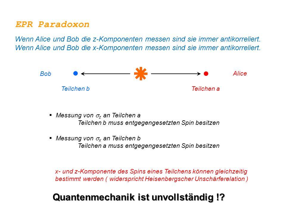  Messung von  z an Teilchen a Teilchen b muss entgegengesetzten Spin besitzen  Messung von  x an Teilchen b Teilchen a muss entgegengesetzten Spin