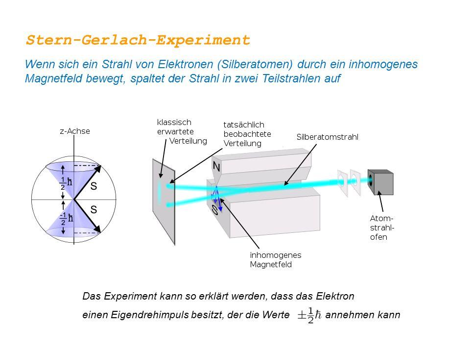 Das Experiment kann so erklärt werden, dass das Elektron einen Eigendrehimpuls besitzt, der die Werte annehmen kann Wenn sich ein Strahl von Elektrone