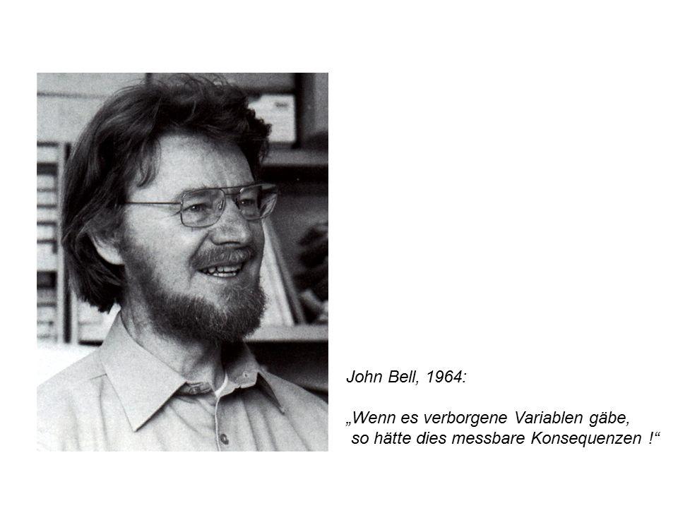 """John Bell, 1964: """"Wenn es verborgene Variablen gäbe, so hätte dies messbare Konsequenzen !"""""""