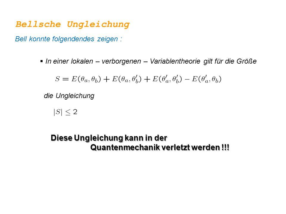  In einer lokalen – verborgenen – Variablentheorie gilt für die Größe die Ungleichung Bellsche Ungleichung Diese Ungleichung kann in der Quantenmecha