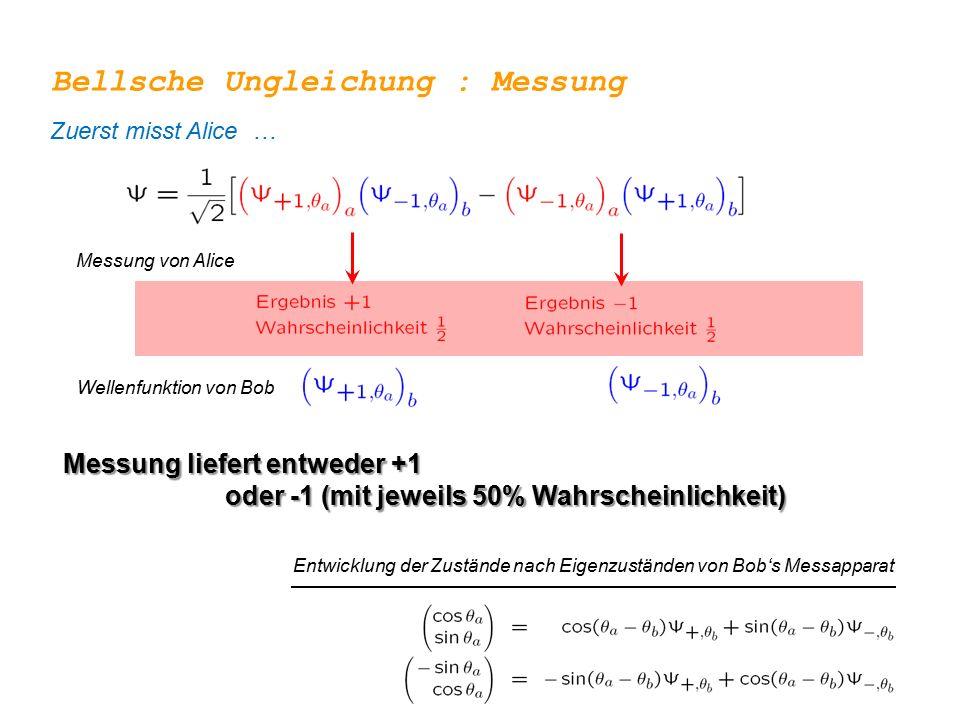 Messung von Alice Wellenfunktion von Bob Entwicklung der Zustände nach Eigenzuständen von Bob's Messapparat Bellsche Ungleichung : Messung Messung lie