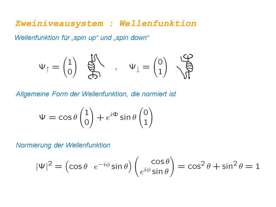 """Zweiniveausystem : Wellenfunktion Allgemeine Form der Wellenfunktion, die normiert ist Wellenfunktion für """"spin up"""" und """"spin down"""" Normierung der Wel"""