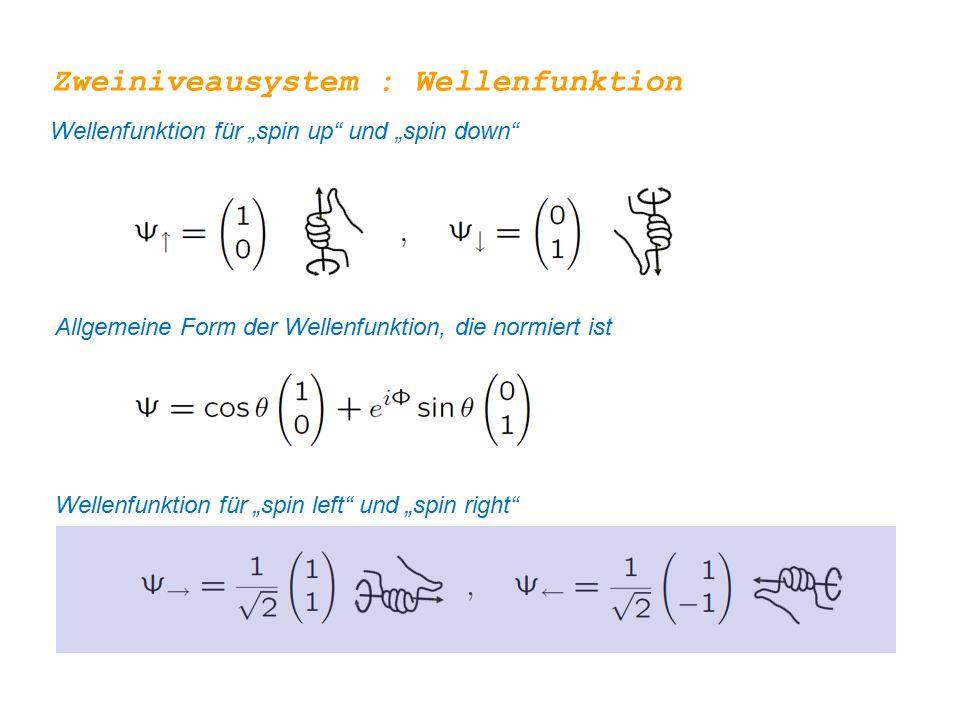 """Zweiniveausystem : Wellenfunktion Allgemeine Form der Wellenfunktion, die normiert ist Wellenfunktion für """"spin up"""" und """"spin down"""" Wellenfunktion für"""