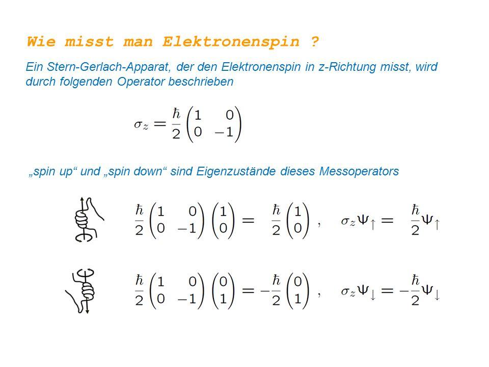 """Wie misst man Elektronenspin ? Ein Stern-Gerlach-Apparat, der den Elektronenspin in z-Richtung misst, wird durch folgenden Operator beschrieben """"spin"""