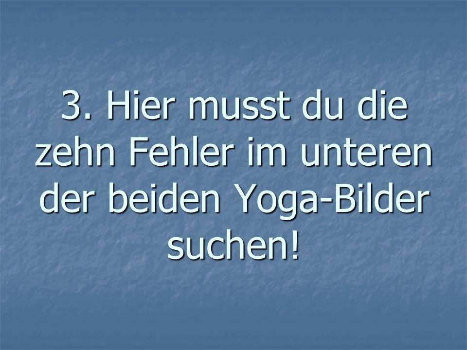 3. Hier musst du die zehn Fehler im unteren der beiden Yoga-Bilder suchen!