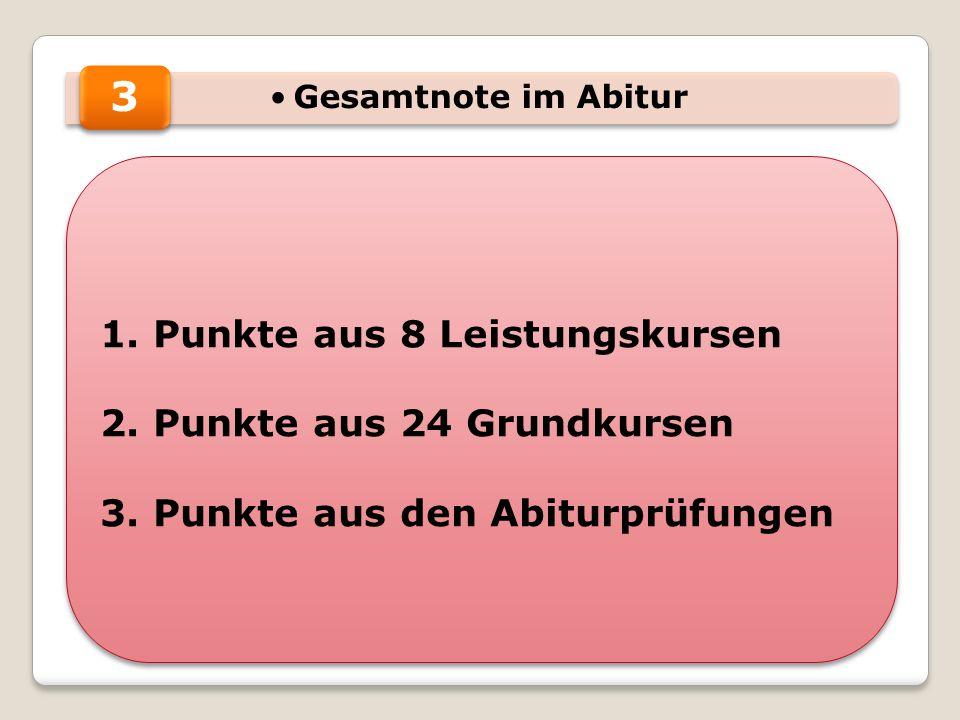 Gesamtnote im Abitur 1. Punkte aus 8 Leistungskursen 2.