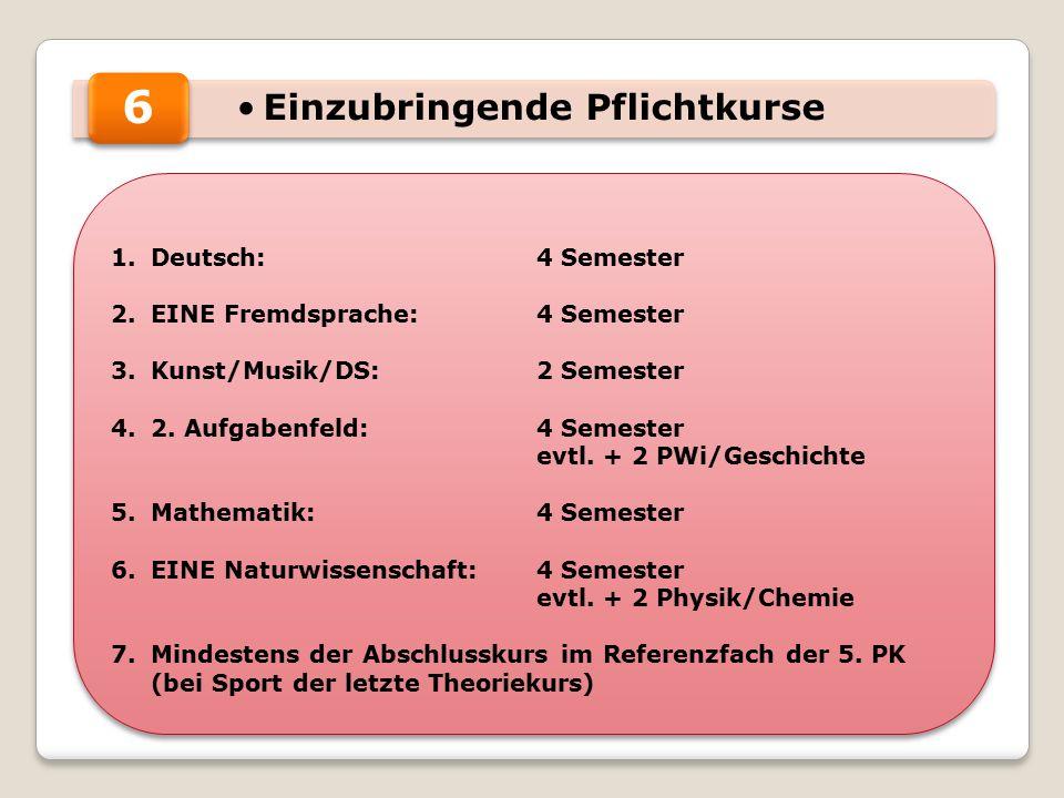 Einzubringende Pflichtkurse 1.Deutsch:4 Semester 2.EINE Fremdsprache:4 Semester 3.Kunst/Musik/DS:2 Semester 4.2.