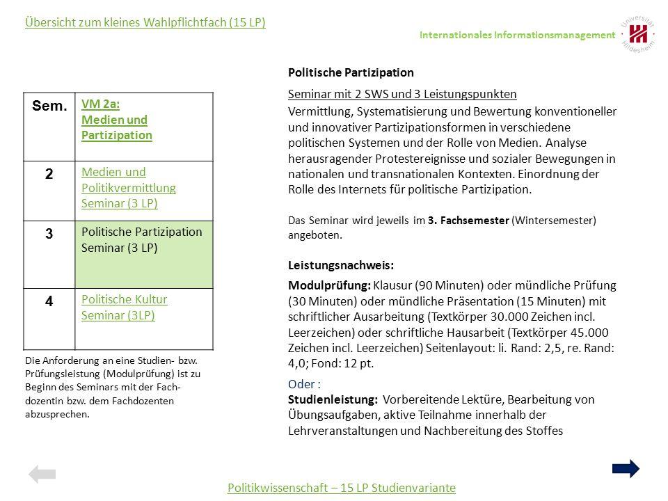 Politikwissenschaft – 15 LP Studienvariante Übersicht zum kleines Wahlpflichtfach (15 LP) Sem. VM 2a: Medien und Partizipation 2 Medien und Politikver