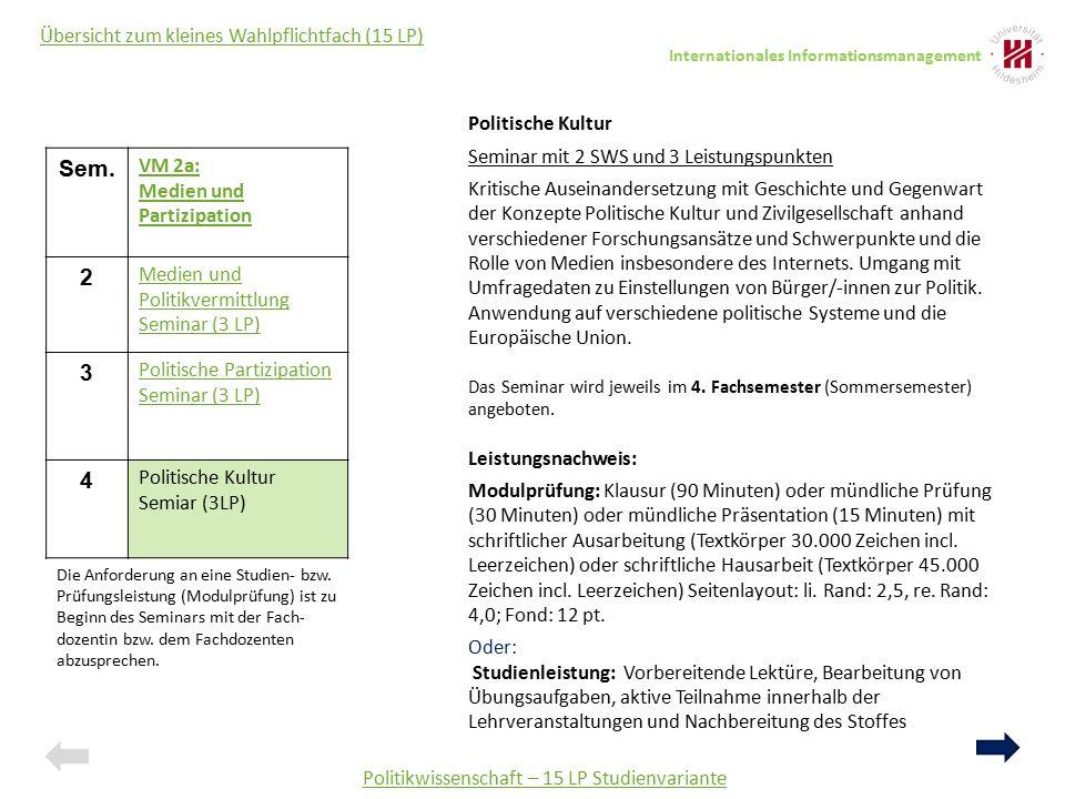 Politikwissenschaft – 15 LP Studienvariante Übersicht zum kleines Wahlpflichtfach (15 LP) Politische Kultur Seminar mit 2 SWS und 3 Leistungspunkten K