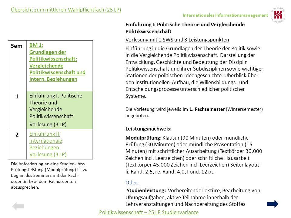 Politikwissenschaft – 25 LP Studienvariante Sem BM 1: Grundlagen der Politikwissenschaft: Vergleichende Politikwissenschaft und Intern. Beziehungen 1