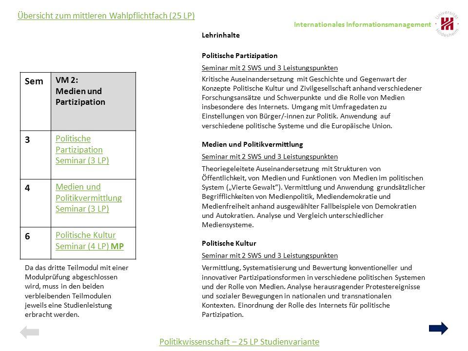 Politikwissenschaft – 25 LP Studienvariante Übersicht zum mittleren Wahlpflichtfach (25 LP) Lehrinhalte Politische Partizipation Seminar mit 2 SWS und