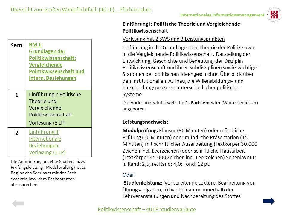 Politikwissenschaft – 40 LP Studienvariante Sem BM 1: Grundlagen der Politikwissenschaft: Vergleichende Politikwissenschaft und Intern. Beziehungen 1