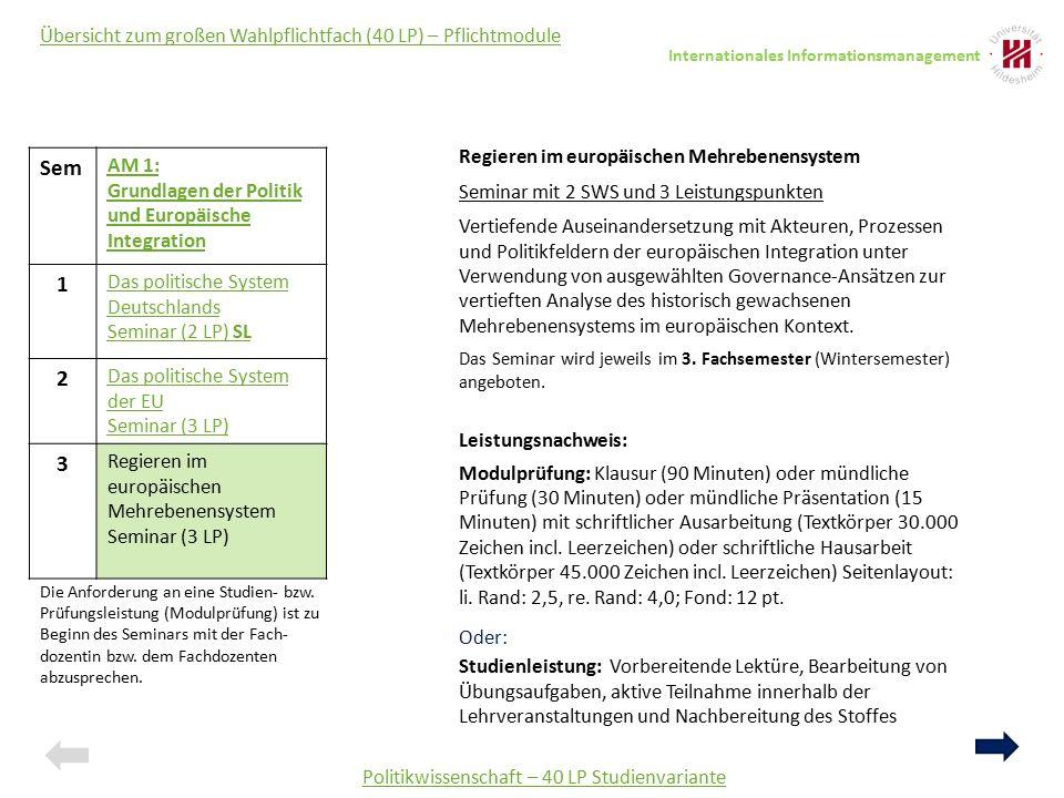Sem AM 1: Grundlagen der Politik und Europäische Integration 1 Das politische System Deutschlands Seminar (2 LP) SL 2 Das politische System der EU Sem