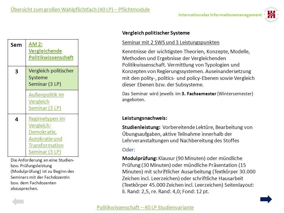 Sem AM 2: Vergleichende Politikwissenschaft 3 Vergleich politischer Systeme Seminar (3 LP) Außenpolitik im Vergleich Seminar (3 LP) 4 Regimetypen im V