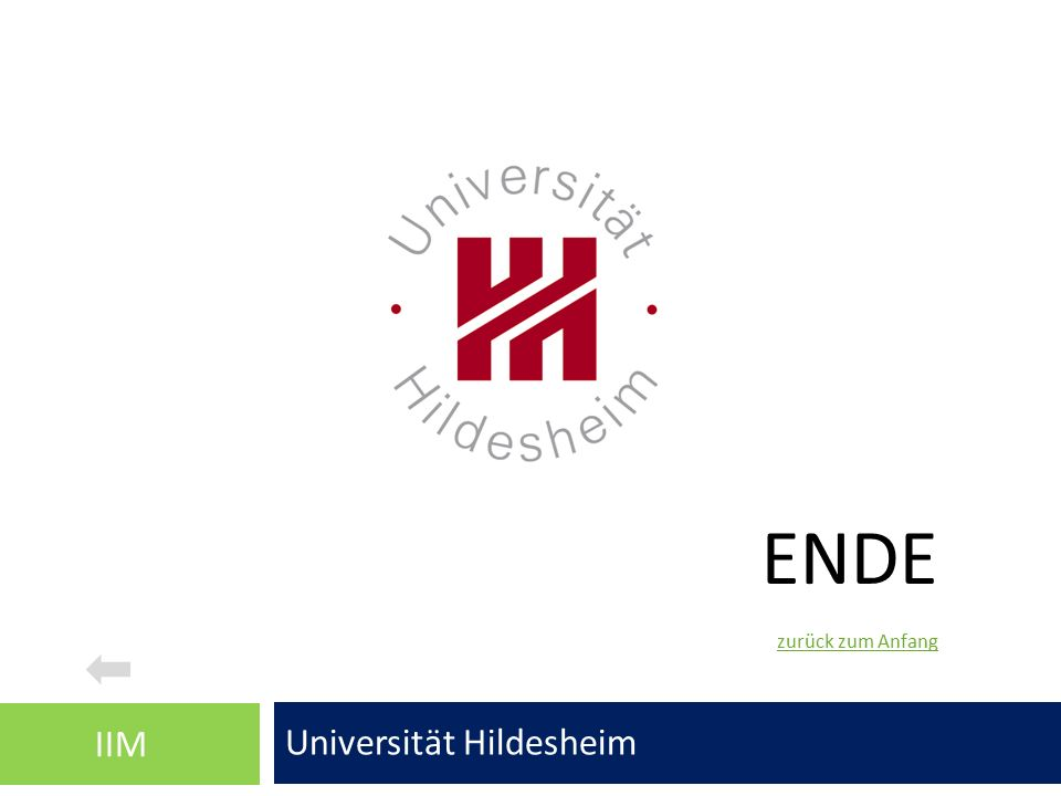 ENDE Universität Hildesheim IIM zurück zum Anfang