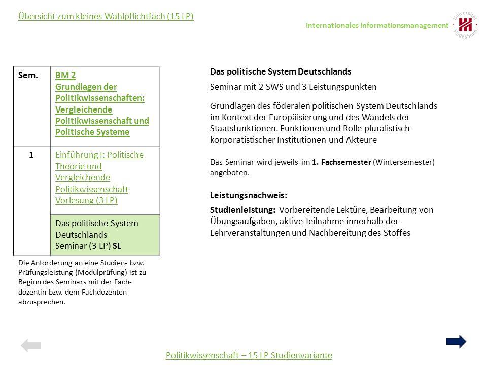 Sem AM 1a: Grundlagen der Politik und Europäische Integration 1 Das politische System Deutschlands Seminar (3LP) SL 2 Das politische System der EU Seminar (3 LP) 3 Regieren im europäischen Mehrebenensystem Seminar (3 LP) Politikwissenschaft – 25 LP Studienvariante Übersicht zum mittleren Wahlpflichtfach (25 LP) Das politische System Deutschlands Seminar mit 2 SWS und 3 Leistungspunkten Grundlagen des föderalen politischen System Deutschlands im Kontext der Europäisierung und des Wandels der Staatsfunktionen.