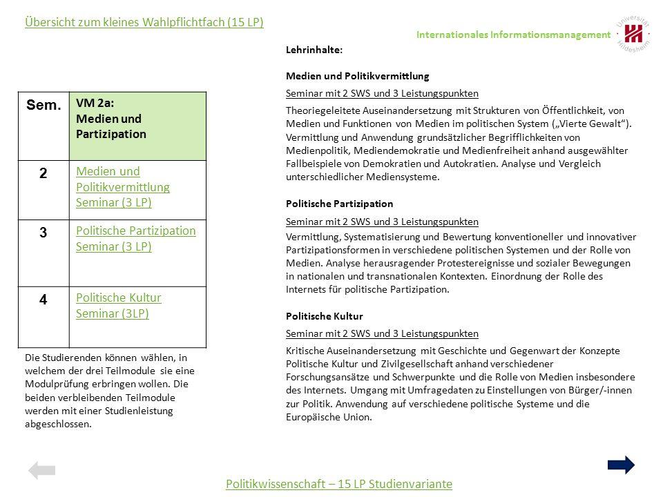 Sem. VM 2a: Medien und Partizipation 2 Medien und Politikvermittlung Seminar (3 LP) 3 Politische Partizipation Seminar (3 LP) 4 Politische Kultur Semi