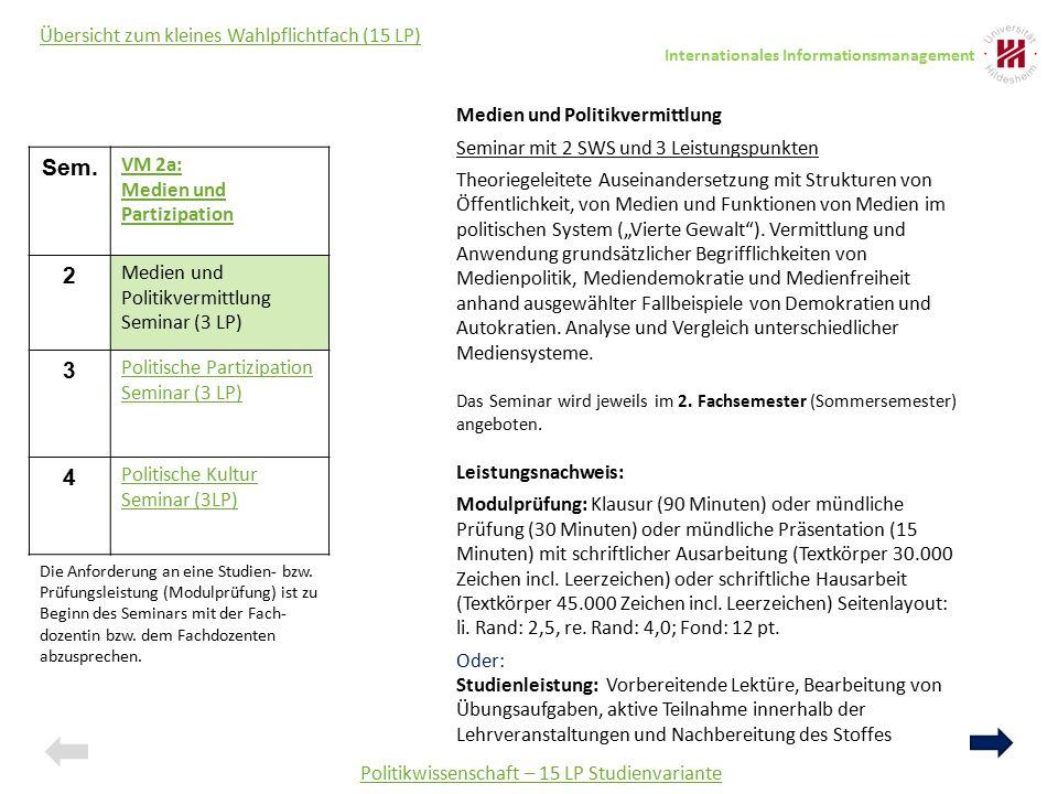 Politikwissenschaft – 15 LP Studienvariante Medien und Politikvermittlung Seminar mit 2 SWS und 3 Leistungspunkten Theoriegeleitete Auseinandersetzung