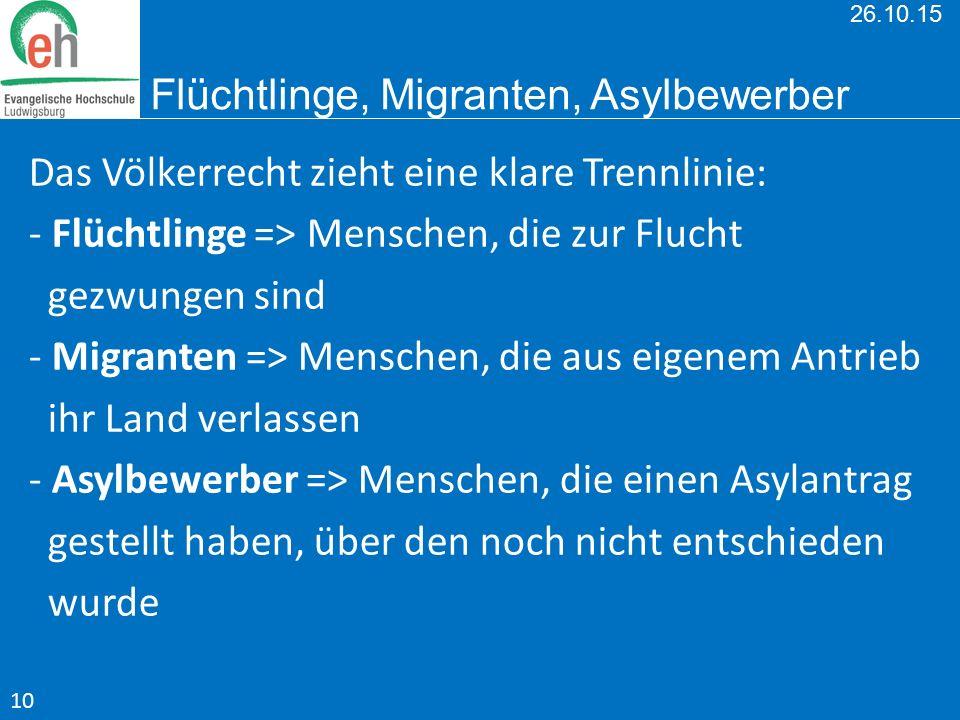 26.10.15 Flüchtlinge, Migranten, Asylbewerber Das Völkerrecht zieht eine klare Trennlinie: - Flüchtlinge => Menschen, die zur Flucht gezwungen sind -