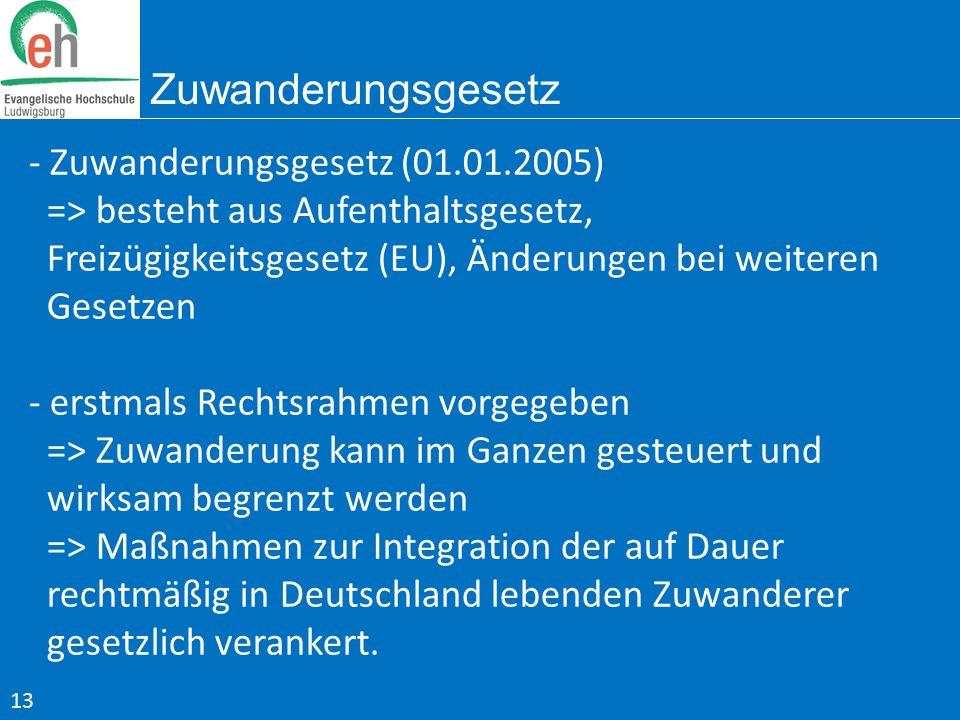 Zuwanderungsgesetz - Zuwanderungsgesetz (01.01.2005) => besteht aus Aufenthaltsgesetz, Freizügigkeitsgesetz (EU), Änderungen bei weiteren Gesetzen - e