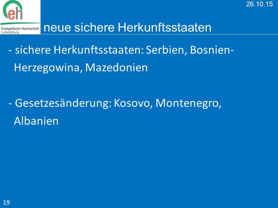 26.10.15 neue sichere Herkunftsstaaten - sichere Herkunftsstaaten: Serbien, Bosnien- Herzegowina, Mazedonien - Gesetzesänderung: Kosovo, Montenegro, A