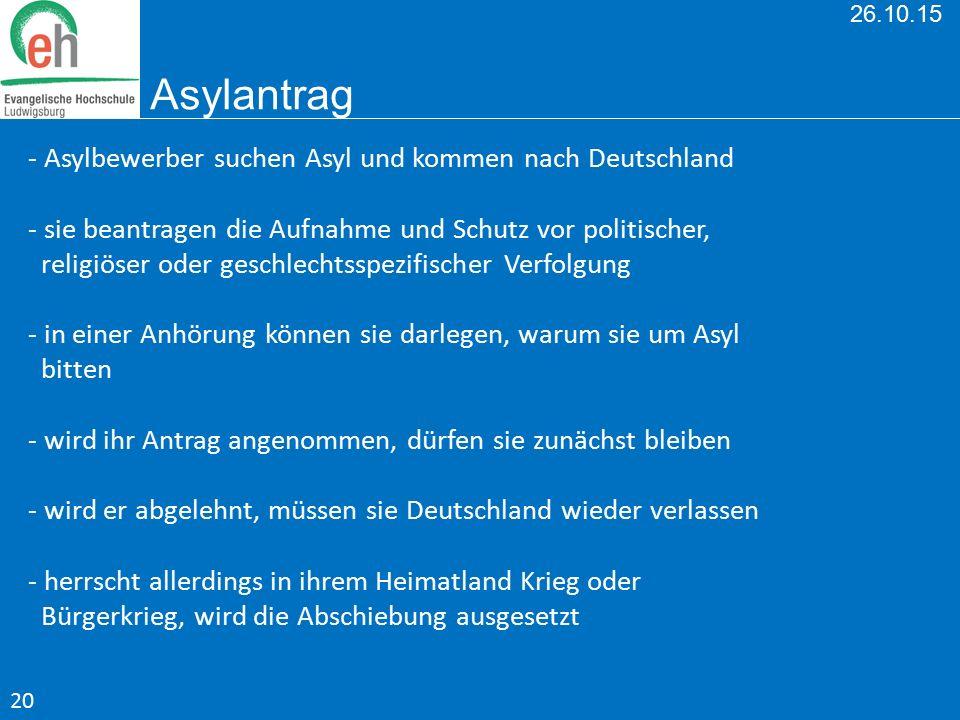 26.10.15 Asylantrag - Asylbewerber suchen Asyl und kommen nach Deutschland - sie beantragen die Aufnahme und Schutz vor politischer, religiöser oder g