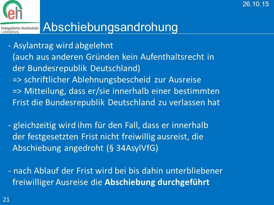 26.10.15 Abschiebungsandrohung - Asylantrag wird abgelehnt (auch aus anderen Gründen kein Aufenthaltsrecht in der Bundesrepublik Deutschland) => schri