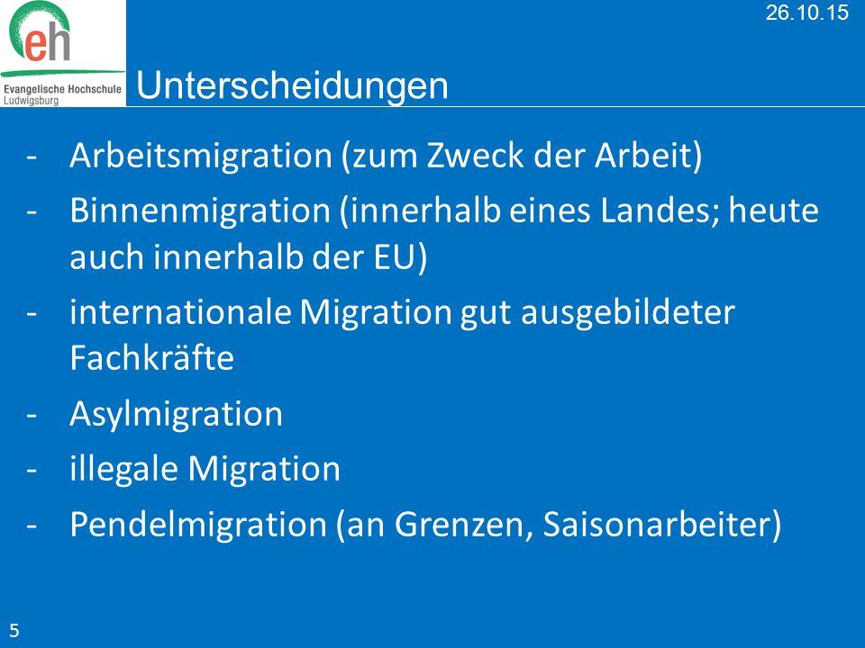 26.10.15 Unterscheidungen -Arbeitsmigration (zum Zweck der Arbeit) -Binnenmigration (innerhalb eines Landes; heute auch innerhalb der EU) -internation
