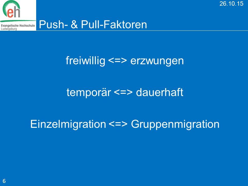 26.10.15 Push- & Pull-Faktoren freiwillig erzwungen temporär dauerhaft Einzelmigration Gruppenmigration 6