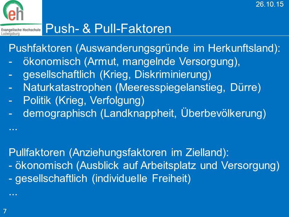 26.10.15 Push- & Pull-Faktoren Pushfaktoren (Auswanderungsgründe im Herkunftsland): -ökonomisch (Armut, mangelnde Versorgung), -gesellschaftlich (Krie