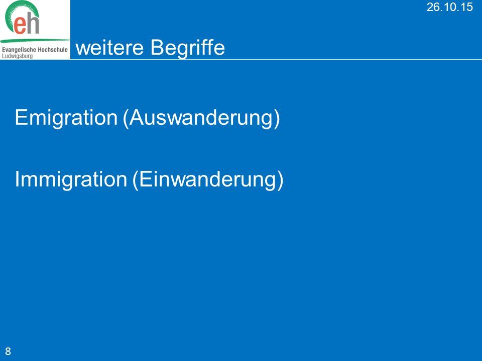 26.10.15 weitere Begriffe Emigration (Auswanderung) Immigration (Einwanderung) 8