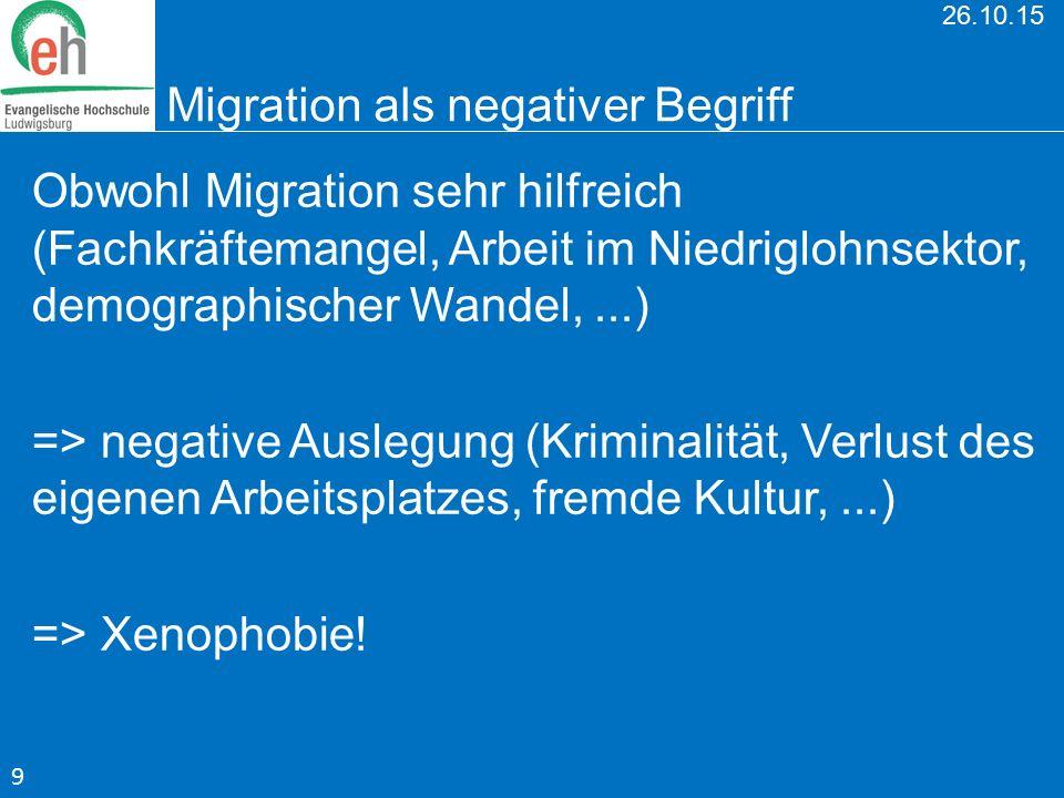 26.10.15 Migration als negativer Begriff Obwohl Migration sehr hilfreich (Fachkräftemangel, Arbeit im Niedriglohnsektor, demographischer Wandel,...) =
