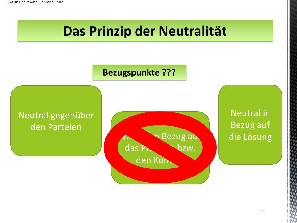 Das Prinzip der Neutralität Bezugspunkte ??? Neutral gegenüber den Parteien Neutral in Bezug auf das Problem bzw. den Konflikt Neutral in Bezug auf di