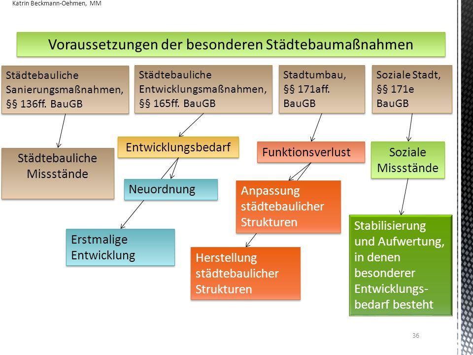 36 Voraussetzungen der besonderen Städtebaumaßnahmen Städtebauliche Entwicklungsmaßnahmen, §§ 165ff. BauGB Soziale Stadt, §§ 171e BauGB Städtebauliche