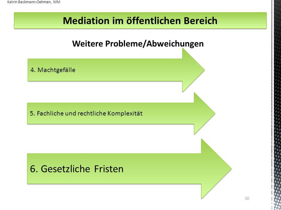 50 4.Machtgefälle Weitere Probleme/Abweichungen Mediation im öffentlichen Bereich 5.
