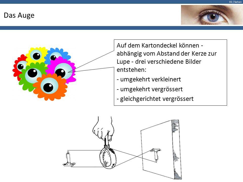 02 / Sehen Das Auge Auf dem Kartondeckel können - abhängig vom Abstand der Kerze zur Lupe - drei verschiedene Bilder entstehen: - umgekehrt verkleiner