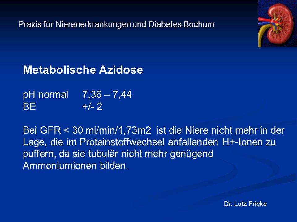 Praxis für Nierenerkrankungen und Diabetes Bochum Dr. Lutz Fricke Metabolische Azidose pH normal 7,36 – 7,44 BE+/- 2 Bei GFR < 30 ml/min/1,73m2 ist di
