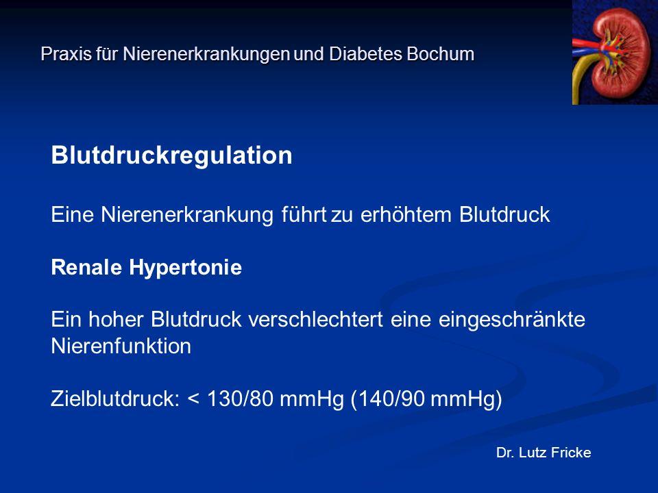 Praxis für Nierenerkrankungen und Diabetes Bochum Dr. Lutz Fricke Blutdruckregulation Eine Nierenerkrankung führt zu erhöhtem Blutdruck Renale Hyperto