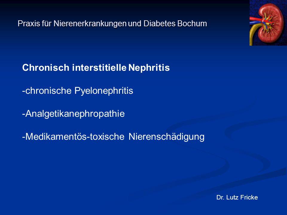Praxis für Nierenerkrankungen und Diabetes Bochum Dr. Lutz Fricke Chronisch interstitielle Nephritis -chronische Pyelonephritis -Analgetikanephropathi