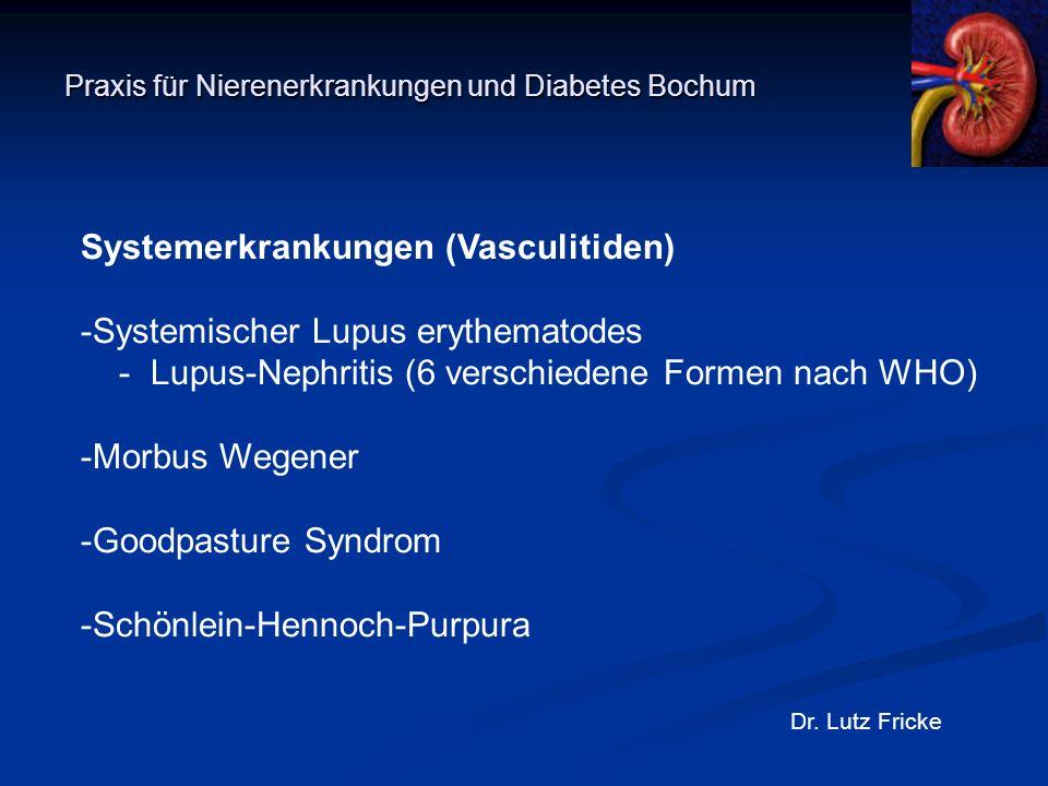 Praxis für Nierenerkrankungen und Diabetes Bochum Dr. Lutz Fricke Systemerkrankungen (Vasculitiden) -Systemischer Lupus erythematodes - Lupus-Nephriti
