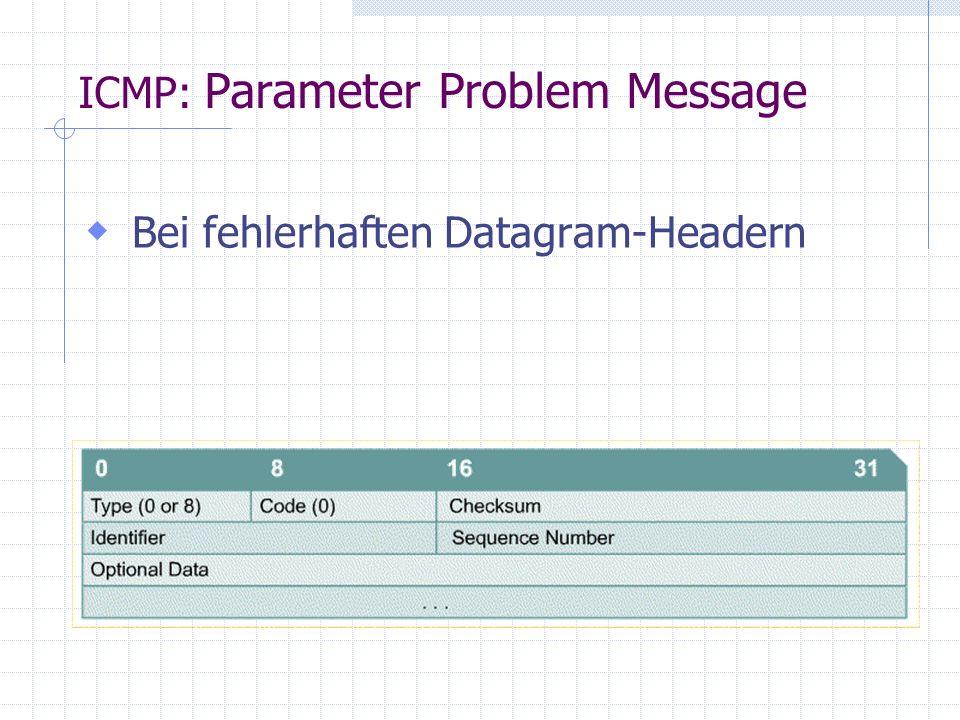  Bei fehlerhaften Datagram-Headern ICMP: Parameter Problem Message