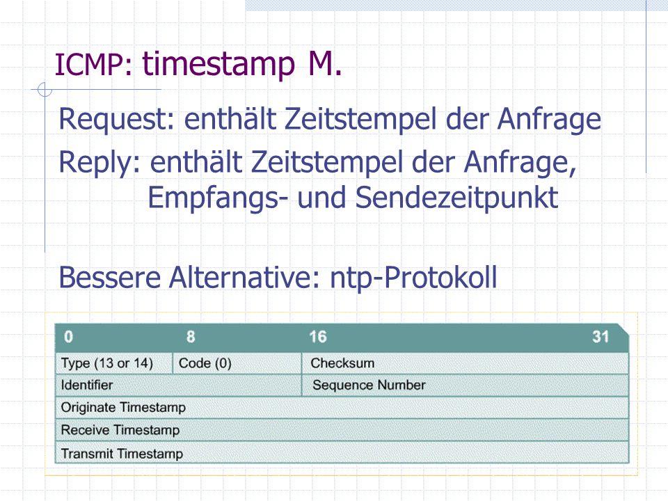 Request: enthält Zeitstempel der Anfrage Reply: enthält Zeitstempel der Anfrage, Empfangs- und Sendezeitpunkt Bessere Alternative: ntp-Protokoll ICMP: timestamp M.