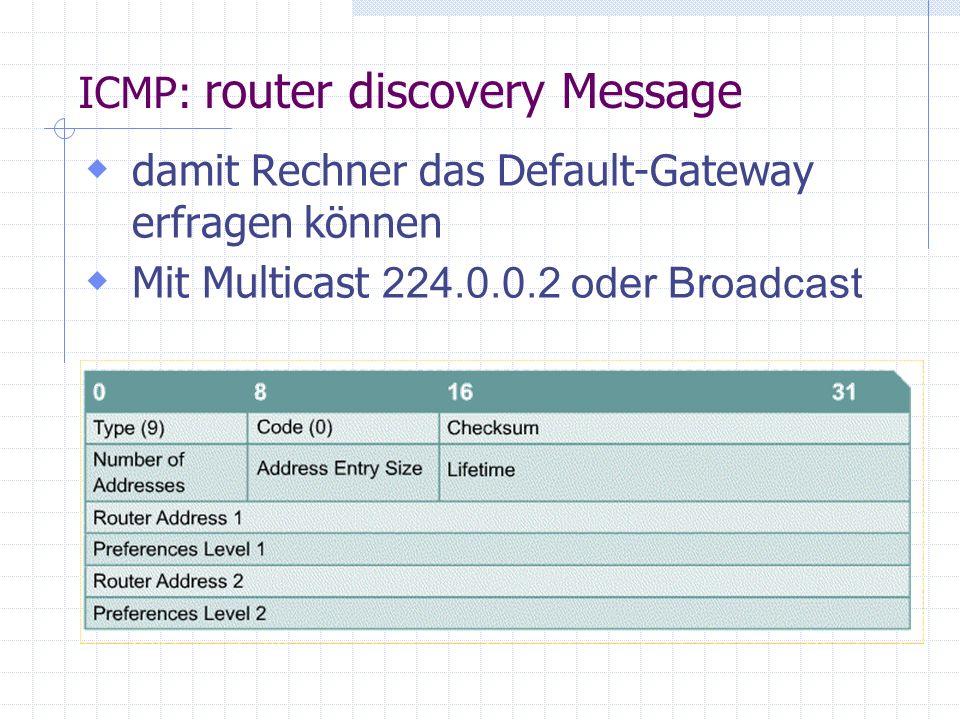  damit Rechner das Default-Gateway erfragen können  Mit Multicast 224.0.0.2 oder Broadcast ICMP: router discovery Message