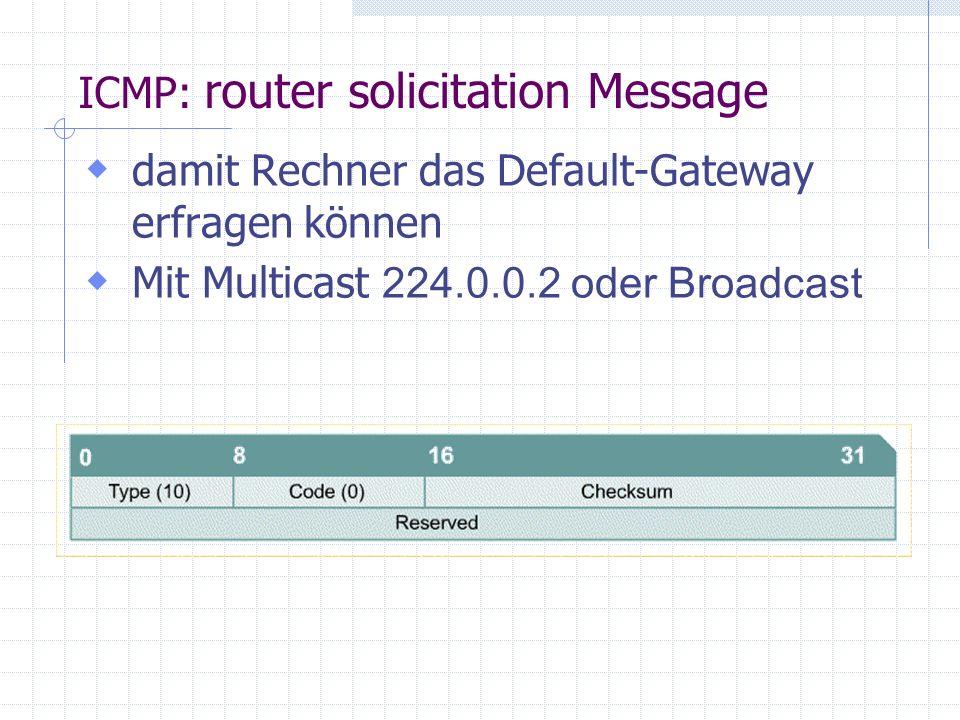  damit Rechner das Default-Gateway erfragen können  Mit Multicast 224.0.0.2 oder Broadcast ICMP: router solicitation Message