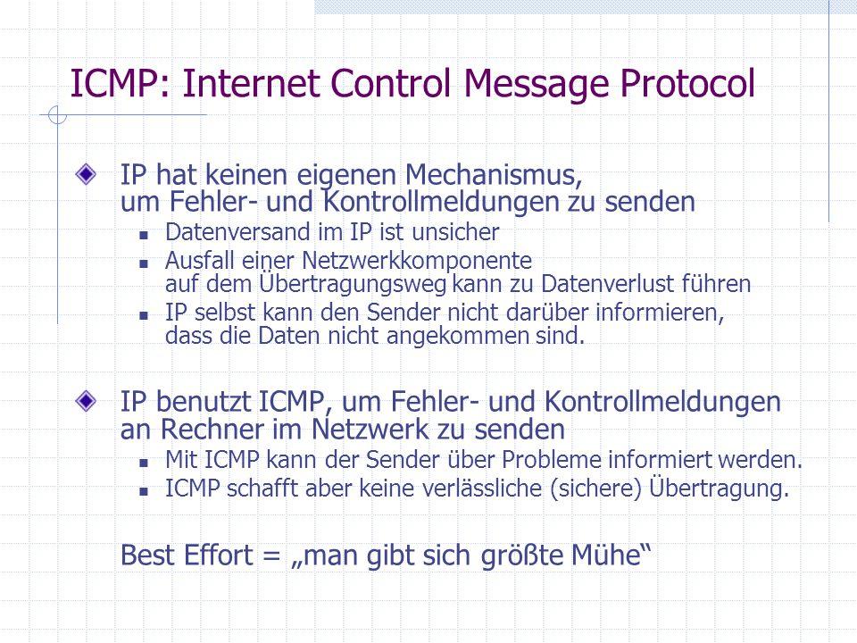 ICMP: Internet Control Message Protocol IP hat keinen eigenen Mechanismus, um Fehler- und Kontrollmeldungen zu senden Datenversand im IP ist unsicher Ausfall einer Netzwerkkomponente auf dem Übertragungsweg kann zu Datenverlust führen IP selbst kann den Sender nicht darüber informieren, dass die Daten nicht angekommen sind.
