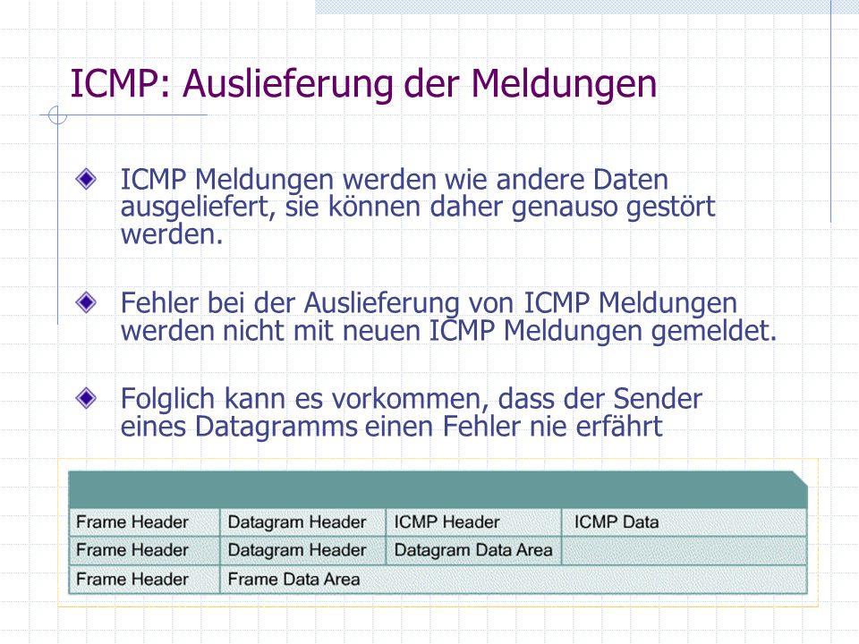 - damit Rechner seine eigene Subnet-Maske erfragen kann ICMP: address mask Message