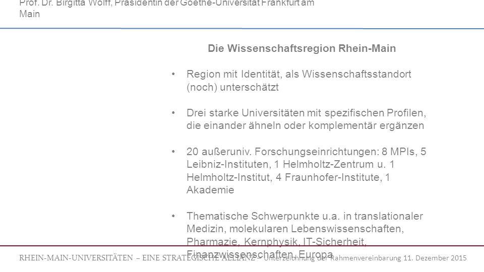 Die Wissenschaftsregion Rhein-Main Region mit Identität, als Wissenschaftsstandort (noch) unterschätzt Drei starke Universitäten mit spezifischen Profilen, die einander ähneln oder komplementär ergänzen 20 außeruniv.