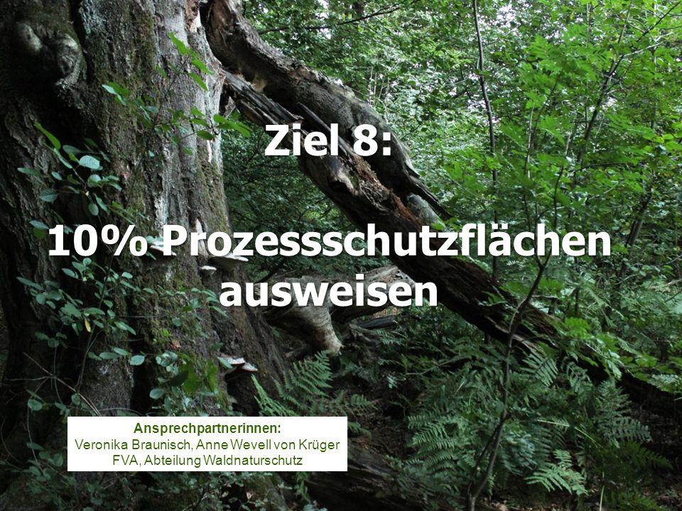 Ziel 8: 10% Prozessschutzflächen ausweisen Ansprechpartnerinnen: Veronika Braunisch, Anne Wevell von Krüger FVA, Abteilung Waldnaturschutz